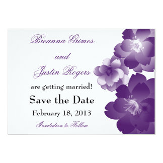 Purple Flowers Wedding Save the Date 5x7 Paper Invitation Card