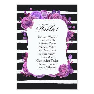 Purple flowers wedding seating chart. Table plan Card