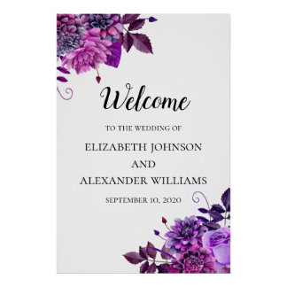 Purple flowers welcome sign. Wedding floral print