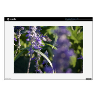 Purple Flowers with Moth Laptop Decal