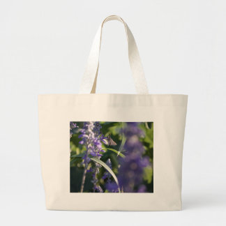 Purple Flowers with Moth Large Tote Bag