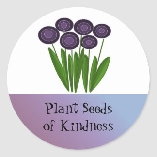 Purple Flowers with Motivational Saying Classic Round Sticker