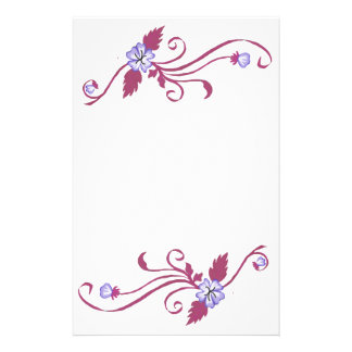 Purple Flowers with Pink Vine Stationery