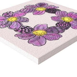 Purple Flowers with Yellow Stamens Doodle Canvas Print