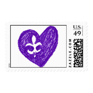 Purple Fluer de Lis Love Postage