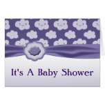 Purple Fluffy Clouds Baby Shower Card