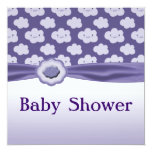 """Purple Fluffy Clouds Baby Shower 5.25"""" Square Invitation Card"""