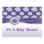 Purple Fluffy Clouds Baby Shower Postcard