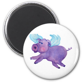 Purple Flying Pig 2 Inch Round Magnet