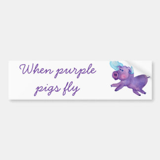 Purple Flying Pig Car Bumper Sticker