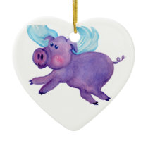 Purple Flying Pig Ceramic Ornament