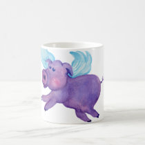 Purple Flying Pig Coffee Mug