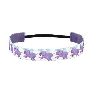 Purple Flying Pig Grosgrain Non-Slip Headband
