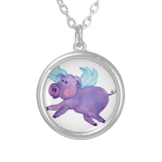 Purple Flying Pig Round Pendant Necklace