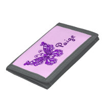 Purple flying stylized butterfly name purse tri-fold wallet
