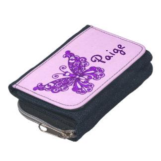 Purple flying stylized butterfly name purse wallets