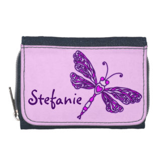 Purple flying stylized dragonfly name purse wallets