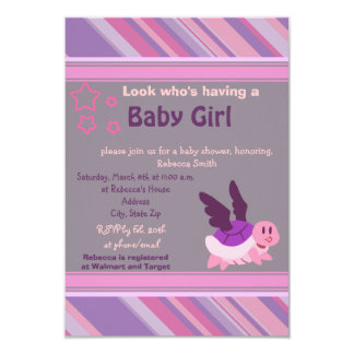 Purple Flying Turtle Baby Shower Invites