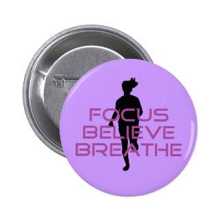 Purple Focus Believe Breathe Pinback Button