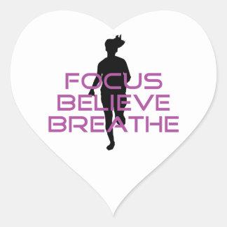 Purple Focus Believe Breathe Heart Sticker