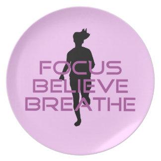 Purple Focus Believe Breathe Melamine Plate