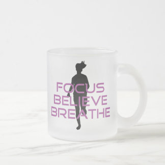Purple Focus Believe Breathe 10 Oz Frosted Glass Coffee Mug