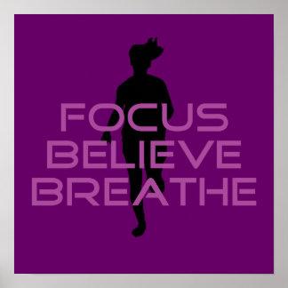 Purple Focus Believe Breathe Poster