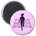 Purple Focus Believe Breathe Refrigerator Magnet