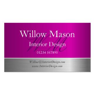 Purple Foil & Brushed Steel Monogram Business Card