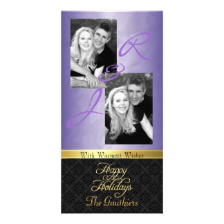Purple Foil Lace Holiday Gold Ribbon Photo Card
