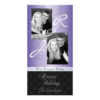 Purple Foil Lace Holiday Ribbon Photo Card