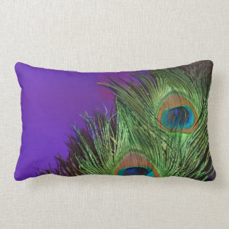 Purple Foil Peacock Lumbar Pillow