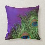 Purple Foil Peacock Pillow