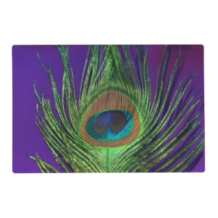 Purple Foil Peacock Placemat at Zazzle