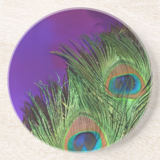 Purple Foil Peacock Sandstone Coaster