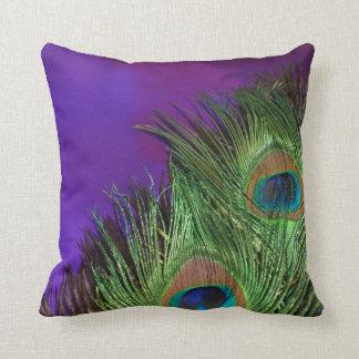 Purple Foil Peacock Throw Pillow