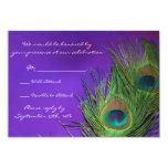 Purple Foil Peacock Wedding RSVP cards Announcement