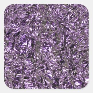 purple foil square sticker