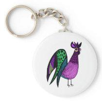 Purple Folk Art Rooster Keychain
