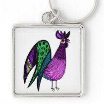 Purple Folk Art Rooster Keychain