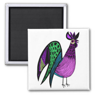 Purple Folk Art Rooster Fridge Magnets