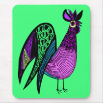 Purple Folk Art Rooster Mouse Pad