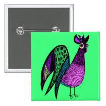 Purple Folk Art Rooster Pinback Button