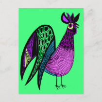 Purple Folk Art Rooster Postcard