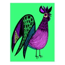 Purple Folk Art Rooster Postcard