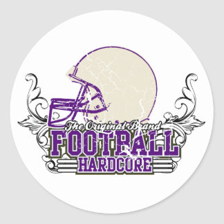 Purple Football Hardcore Tshirts and Gifts Classic Round Sticker