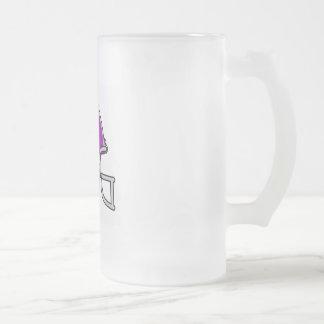 Purple Football Helmet Frosted Glass Beer Mug