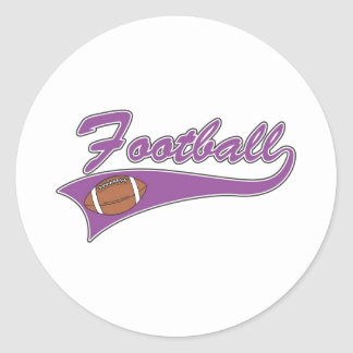 Purple football logo classic round sticker