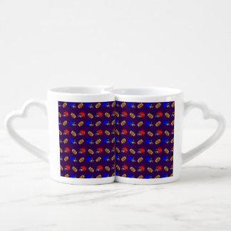 purple footballs helmets pattern lovers mug set