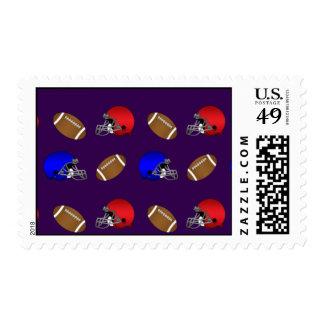 purple footballs helmets pattern stamps